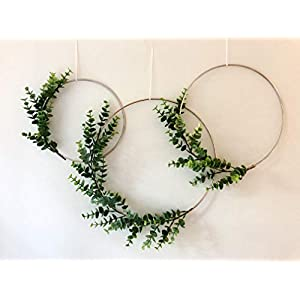 Designs by DH Metal Hoop Wreath Shabby Chic Eucalyptus Succulent Green Simple Wedding Baby Nursery Rustic Farmhouse Scandinavian Home Decor 59