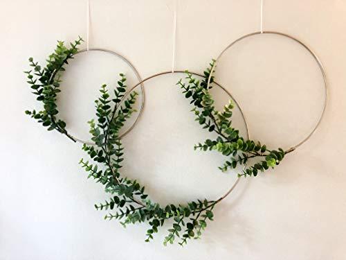 "Designs by DH Metal Hoop Wreath Shabby Chic Eucalyptus Succulent Green Simple Wedding Baby Nursery Rustic Farmhouse Scandinavian Home Decor (Set of 3-8"", 10"", 12"")"