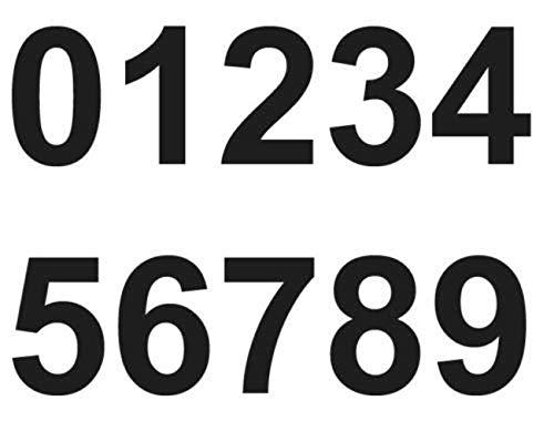 Merriway BH07148 N/úmeros adhesivos vinilo, 75 mm, 0 a 9 color negro