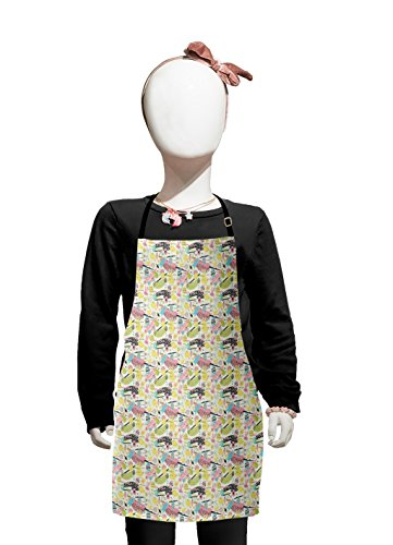 Lunarable Easter Kids Apron, Memphis Style Pattern with