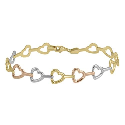 Polished Stampato Necklace - Polished 14k Gold Tri-Color Stampato Heart Love Bracelet
