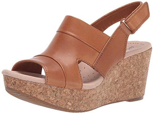 CLARKS Women's Annadel Ivory Wedge Sandal, tan Leather, 065 W -