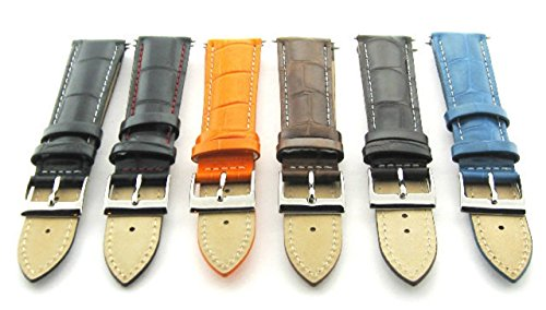 Ewatchparts 17-18-19-20-21-22-23-24MM Leather Watch Band Strap for LONGINES White Stitch