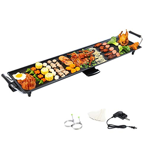 Lotus Analin Grid Electric Teppanyaki Table Top Grill Griddle BBQ Barbecue Plate Camping, Black (Renewed)