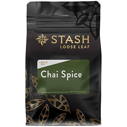 - Stash Tea Chai Spice Black Loose Leaf Tea 3.5 Ounce Bag, Loose Leaf Premium Black Tea Blended with Invigorating, Warming Spices, Drink Chai Tea Hot or Iced