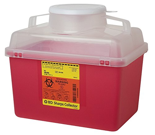 BD 305464 Multi-Use Nestable Sharps Collector with Pearl Regular Funnel Clear Top, 12-1/2'' Width x 11-1/2'' Height x 8-1/2'' Depth, 14 Quart Capacity, Red Base/Natural Top (Case of 20)