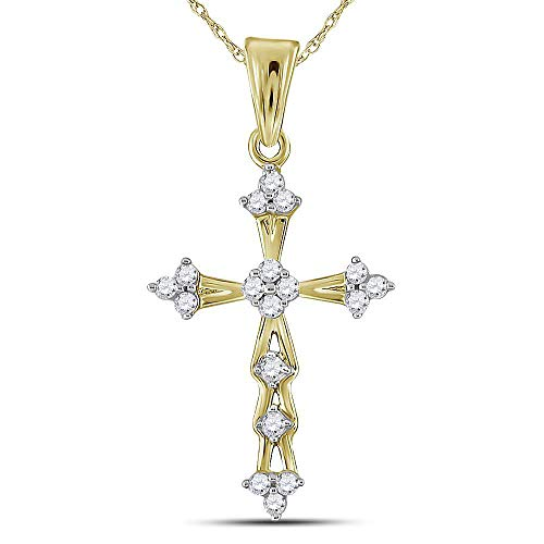 (Diamond Pendant for Women 10kt Yellow Gold Round Flared Cross 1/5)