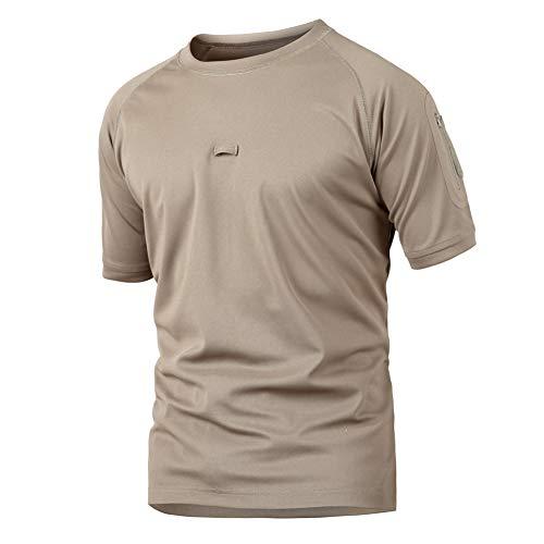KINGJAZZY Men's Military Tactical T Shirt Athletic Sport Training Military Short Sleeve T-Shirt Khaki
