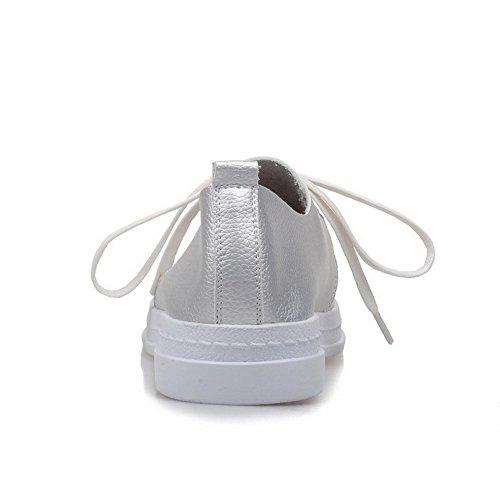 AgooLar Damen PU Schnüren Rund Schließen Zehe Niedriger Absatz Pumps Schuhe Silber
