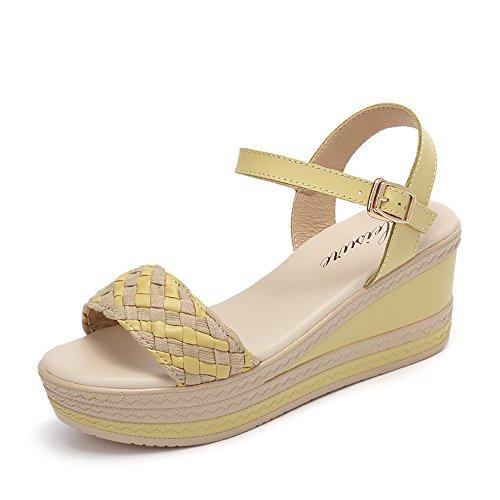 CHANCLAS SANDALS Blanco / azul / amarillo Verano femenino sandalias tejidas Forme las sandalias del tudent de los altos talones s (los 6.5cm) elegante ( Color : Blanco , Tamaño : EU36/UK3.5/CN35 ) Amarillo