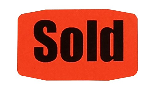 SOLD Stickers, Fluorescent Red, 1000 by SOLD Labels