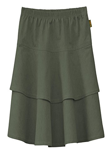 Baby'O Girl's Lightweight 2 Layered Denim Knee Length Skirt (Large, Olive Green) - Denim Lightweight Skirt