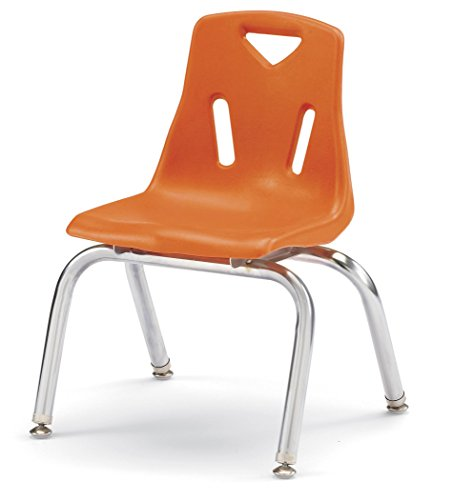 Berries 8142JC6114 Stacking Chairs with Chrome-Plated Legs, 12'' Ht, 15.5'' Height, 22'' Wide, 15.5'' Length, Orange (Pack of 6) by Berries