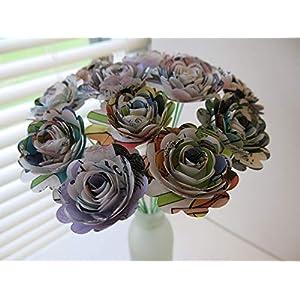 "Scalloped Comic Book Paper Flowers Bunch, 1 Dozen 1.5"" Roses on Stems, Cartoon Theme Bridal Shower Decoration, Home Decor, Superhero Birthday Party Decor Centerpiece 2"