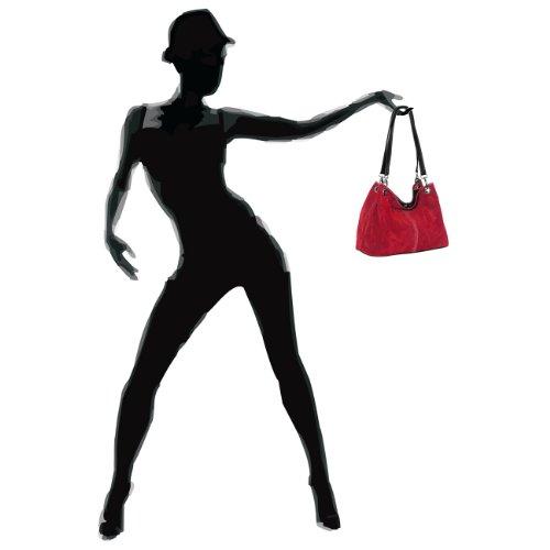 CASPAR Mujer de de Italiano Mano Rojo Oscuro TL621 Cuero Genuino para Bolso rqXrOA