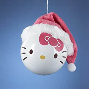 Kurt Adler Hello Kitty Shatterproof With Santa Hat Ball Ornament
