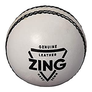 TAURO ZING White Cricket Leather Ball- 2 Panel, (White)