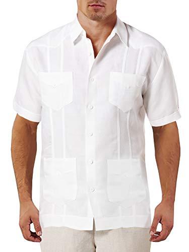 Guayabera Classic - Pengfei Mens Guayabera Shirts Short Sleeve Cuban Linen Cotton Casual Loose Fit Shirts White
