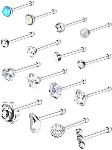 Jovitec Stainless Steel Nose Stud Set Steel Nose Ring Rose Ball Labret Body Piercing Jewelry for Party Wear or Clothes Matching, 20 G (16 Pieces, Bone Stud) (Nose Rings Straight Studs)