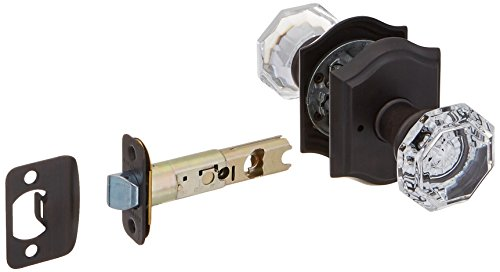 Baldwin PV.CRY.Tar Crystal Privacy Door Knob Set with Traditional Arch Trim from, Venetian Bronze