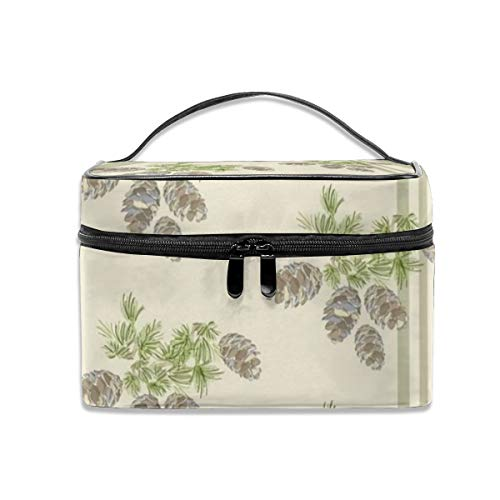 - Portable Travel Toiletry Bag Organizer,16-19H Sage Pinecone Stripe Cosmetic Bags For Women Girl,Makeup Bag, Storage Bag