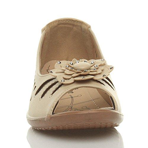 Sandales Talon Chaussures Compensé Confort Bas Femmes Bout Ouvert Découper Beige Fleur gw1xnpq4zn
