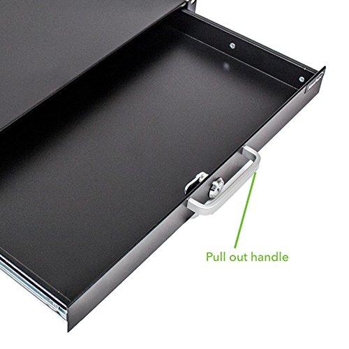 NavePoint Server Cabinet Case 19'' Rack Mount DJ Locking Lockable Deep Drawer with Key 1U by NavePoint (Image #3)