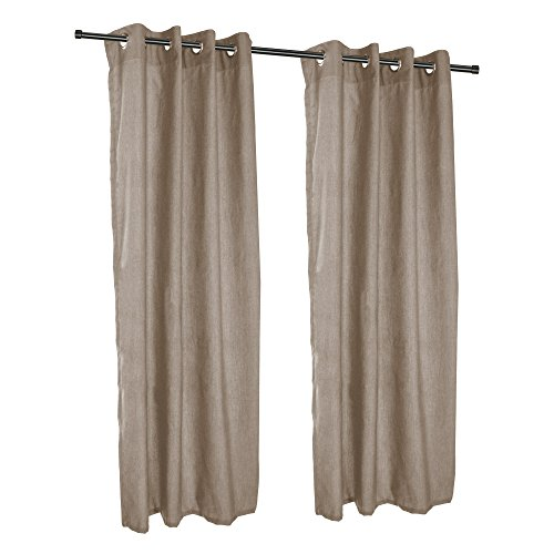 Sunbrella Outdoor Curtain with Nickel Grommets - Cast Shale (50'' W X 96'' L) by Sunbrella