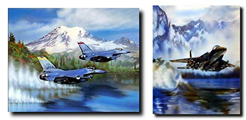 - Impact Posters Gallery Wall Decor Poster Art Print F-15 and F-16s Fighter Jet Military Aircraft Two Set Aviation Picture (8x10)