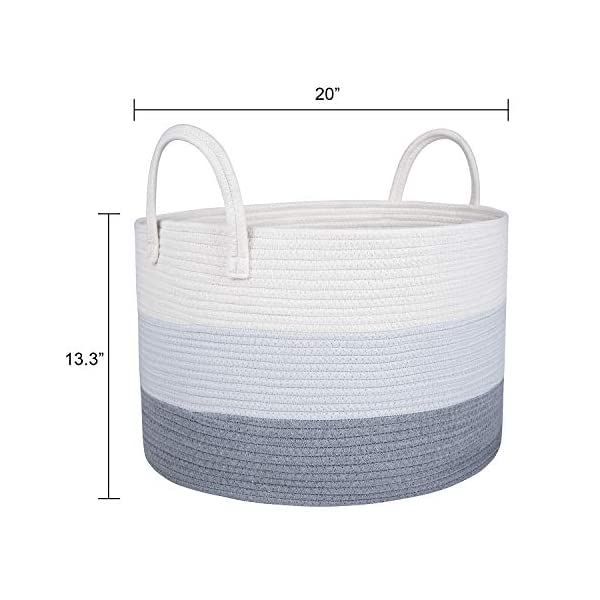 Extra Large Cotton Rope Storage Basket 20″x13.3″-Toy's Organizer Storage Basket with Handles, Woven Baby Diaper Nursery Hamper, Home Deco Pillows Cushions and Blankets Storage Bins, Laundry Basket