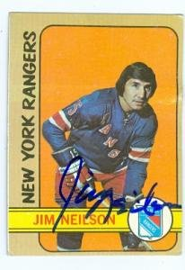 Autograph Warehouse 91000 Jim Neilson Autographed Hockey Card New York Rangers 1972 Topps No. 66 Creased