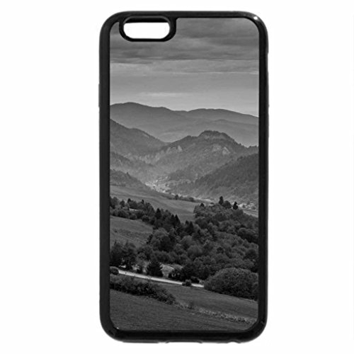 iPhone 6S Plus Case, iPhone 6 Plus Case (Black & White) - road down to a green valley
