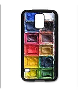 Samsung Galaxy S5 SV Black Rubber Silicone Case - Watercolors Paint Pallet Paint Tray Water Colors