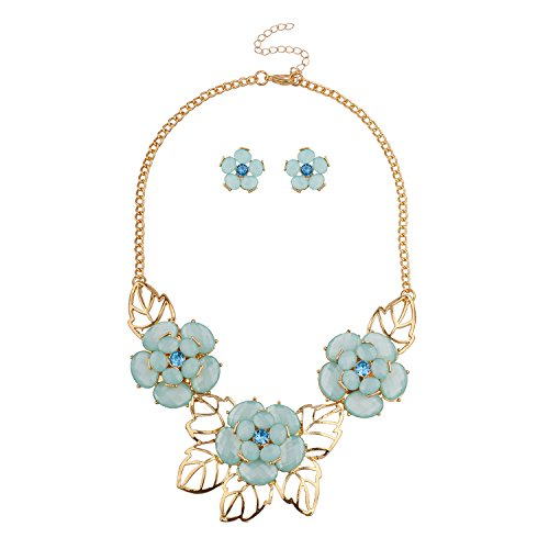 (Lux Accessories Gold Tone Green Flower Leaf Bib Statment Chain Set with Earrings)