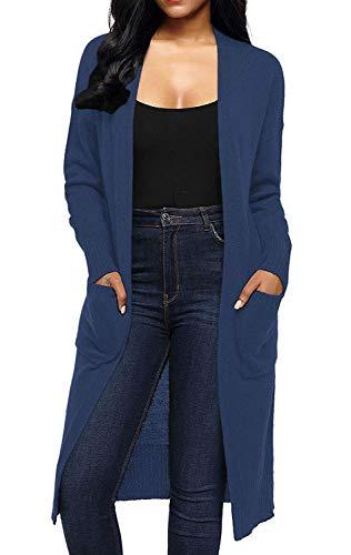 Relaxed Donna Maglia Grazioso A Lunghe Pullover Primaverile Con Tempo Maniche Lunghi Giacca Autunno Tasche Cappotto Monocromo Dunkelblau Elegante Libero Comodo Moda Outwear tdQChsr
