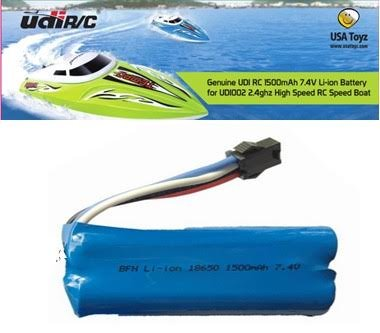 Replacement Battery for UDI R/C UDI007 Voyager / UDI002 Tempo Speed Boat 7.4V 1500mAh Rechargeable Li-ion (Geniune - Remote 4 Boat Speed Ch