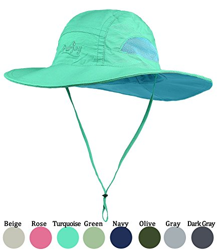 Purjoy Sun Hat for Men & Women,Wide Brim UPF 50+ UV Protection Beach Cap,Breathable Outdoor Boonie Hats with Adjustable Drawstring Design,Perfect for Hiking,Fishing,Camping,Boating,Safari(Turquoise) by Purjoy
