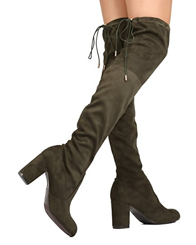 ShoBeautiful Olive The Stretchy Women's Chunky Knee Boots Boots Block Heel High Over Thigh nSZ6dwS