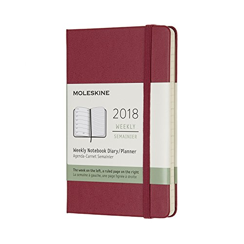Moleskine 12 Month Weekly Planner, Pocket, Berry Rose, Hard Cover (3.5 x 5.5)