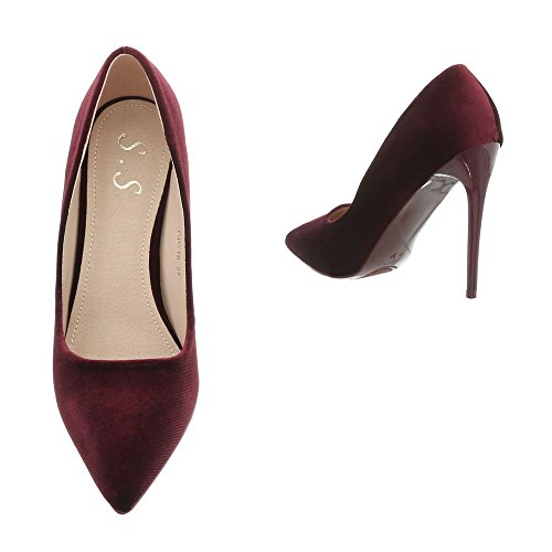 Ital Bourgogne Od Zapatos Tacones de de Aguja Design Mujer para Altos Tacón Tacon Zapatos 16 wfqZUCvS