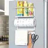Space Saving Storage Racks Refrigerator Rack Rack Storage Rack Side Wall Rack Kitchen Multifunctional Plastic wrap Basket Hanging Punch Free