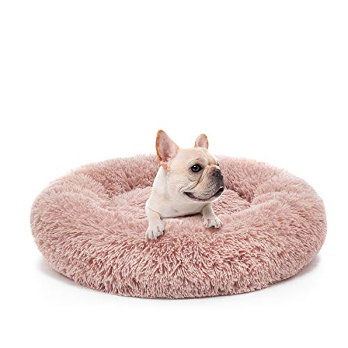 JOEJOY Orthopedic Dog Bed Comfortable Donut Cuddler Round Dog Bed Ultra Soft Washable Dog and Cat Cushion Bed (23''x 23''x 5'') (Pink) ()