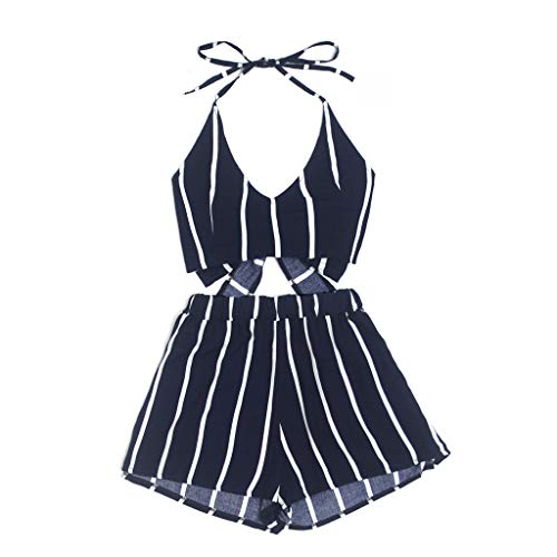 Yezijin_Women's Wear Blouses for Women Fashion 2019, Sexy Women Striped Print Sleeveless Bndage Vest Blouse + Shorts Two-Piece Outfit Navy ()