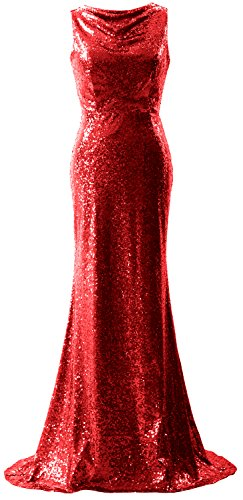 Gown Elegant Prom Mermaid Formal Long Simple Macloth Red Sequin Dress Bridesmaid AwqxqzPR