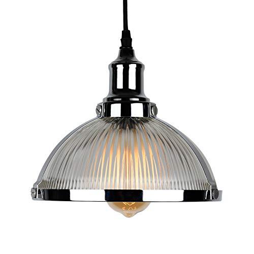 T&A Clear Glass Shade 1-Light Pendant Lighting Modern Metal Ceiling Light Fixtures (Chrome)