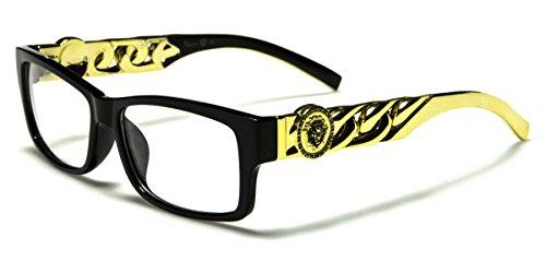Kleo Rectangle RX Clear Lens Glasses Gold Chain Link Hip Hop Rapper Celebrity - Sunglasses Link Chain