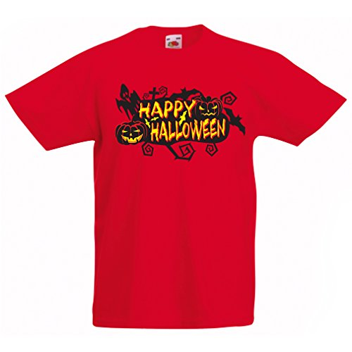 T Shirts for Kids Owls, Bats, Ghosts, Pumpkins - Halloween Outfit Full of Spookiness (12-13 Years Red Multi Color)]()