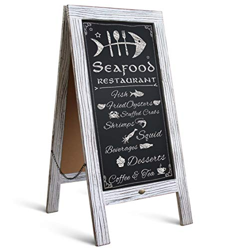 "HBCY Creations Rustic Vintage Wooden Whitewashed Magnetic A-Frame Chalkboard/Sidewalk Chalkboard Sign/Large 40"" x 20"" Sturdy Sandwich Board/A Frame Restaurant Message Board Display (Classic)"