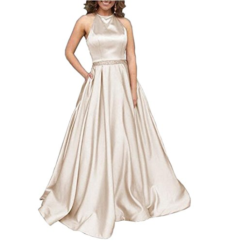 Tsbridal Women's Halter Lace Up Bridesmaid Dresses Long Formal Gown with Pockets Wedding Party Dress Champagne US 16 ()
