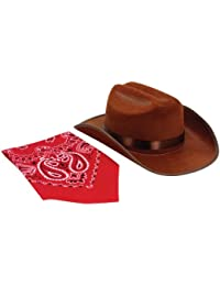 Junior Cowboy Hat with Bandanna, Brown